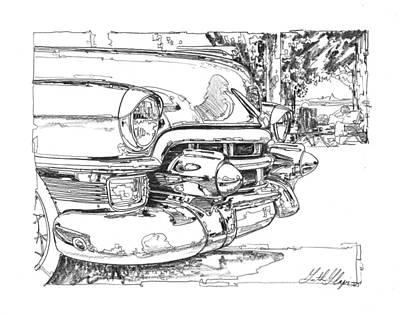 Impressionism Drawings - 1954 Cadillac Study by Garth Glazier