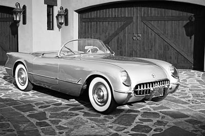 Photograph - 1954 Chevrolet Corvette -203bw by Jill Reger