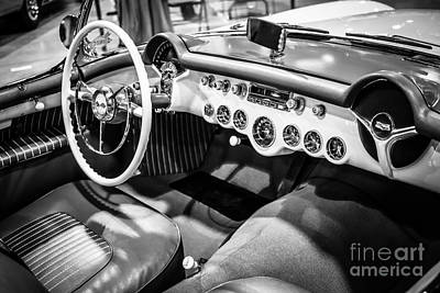 Sportscar Photograph - 1954 Chevrolet Corvette Interior Black And White Picture by Paul Velgos