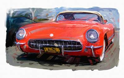 Digital Art - 1954 Chevrolet Corvette by RG McMahon