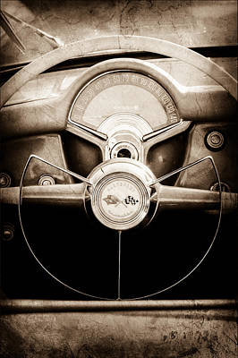 1954 Photograph - 1954 Chevrolet Corvette Steering Wheel Emblem by Jill Reger
