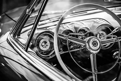 Photograph - 1954 Chrysler Ghia Steering Wheel Emblem -1627bw by Jill Reger