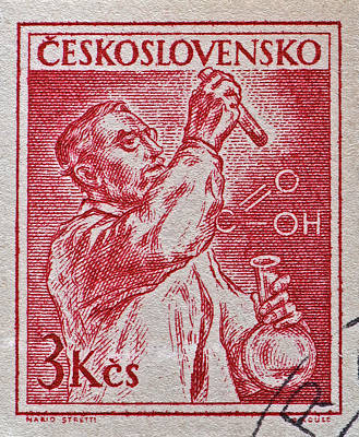Photograph - 1954 Czechoslovakian Chemist Stamp by Bill Owen