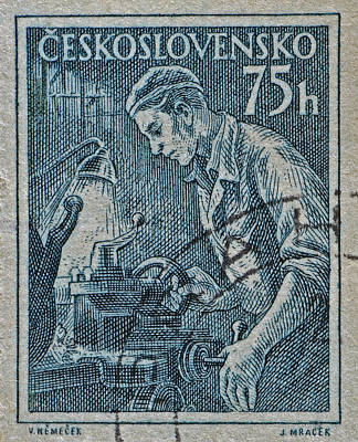 Photograph - 1954 Czechoslovakian Lathe Operator Stamp by Bill Owen