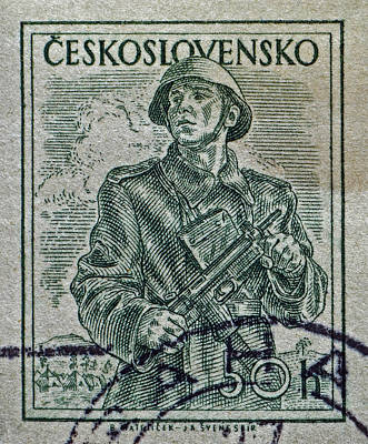 Photograph - 1954 Czechoslovakian Soldier Stamp by Bill Owen