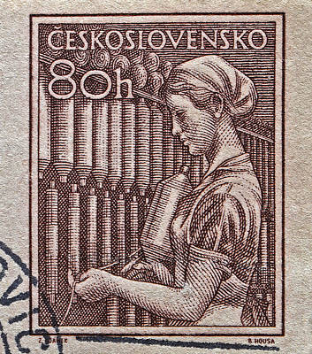 Photograph - 1954 Czechoslovakian Textile Worker Stamp by Bill Owen