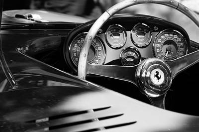 Vintage Sports Cars Photograph - 1954 Ferrari 500 Mondial Spyder Steering Wheel Emblem by Jill Reger