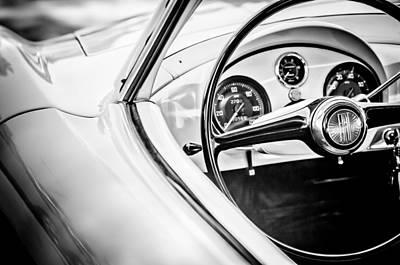 Photograph - 1954 Fiat 1100 Berlinetta Stanguellini Bertoneo Steering Wheel -1770bw by Jill Reger