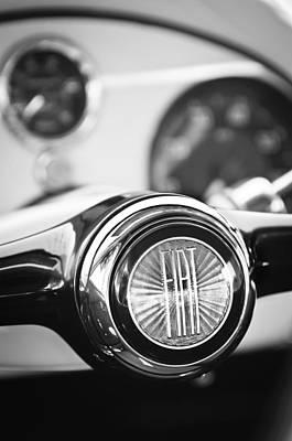 Photograph - 1954 Fiat 1100 Berlinetta Stanguellini Bertoneo Steering Wheel -1782bw by Jill Reger