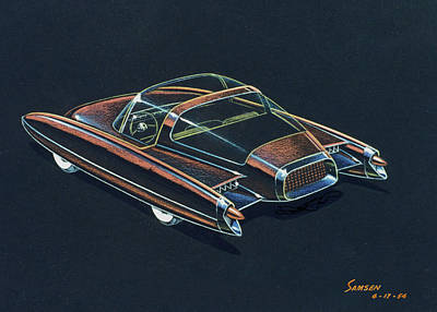 Challenger Drawing - 1954  Ford Cougar Experimental Car Concept Design Concept Sketch by John Samsen
