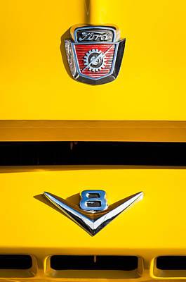 1954 Ford F-100 Custom Pickup Truck Emblems Art Print by Jill Reger