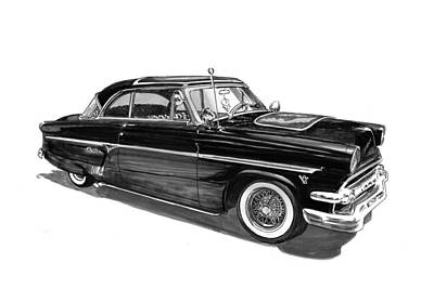 Street Rod Drawing - 1954 Ford Skyliner by Jack Pumphrey