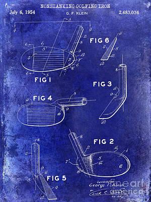1954 Nonshanking Golf Club Patent Blue Art Print