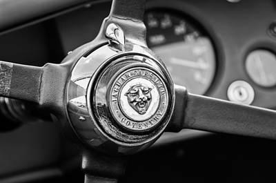 Photograph - 1954 Jaguar Steering Wheel Emblem -0959bw by Jill Reger