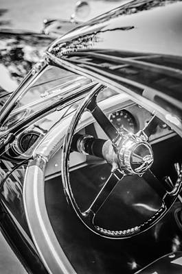 Photograph - 1954 Jaguar Xk120 Roadster Steering Wheel -0500bw by Jill Reger