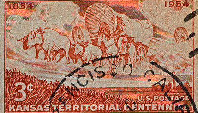 Photograph - 1954 Kansas Territorial Centennial Stamp - San Francisco Cancelled by Bill Owen