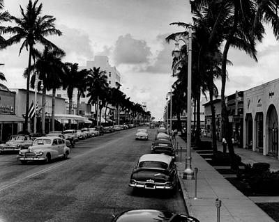 Lincoln Photograph - 1954 Miami Beach Lincoln Road by Retro Images Archive