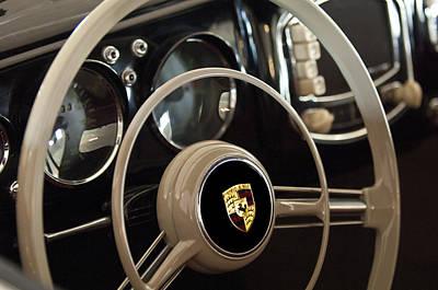 1954 Porsche 356 Bent-window Coupe Steering Wheel Emblem Art Print by Jill Reger