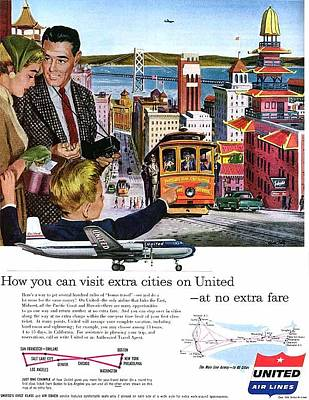 Photograph - 1954 United Airlines Ad San Francisco Theme by John King