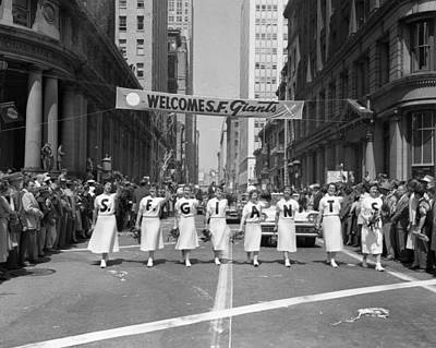 Downtown San Francisco Photograph - 1954 World Series Champions Giants Parade Retro Cheerleaders by Retro Images Archive