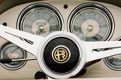 Photograph - 1955 Alfa-romeo 1900 Css Ghia Aigle Cabriolet Steering Wheel -2254 by Jill Reger
