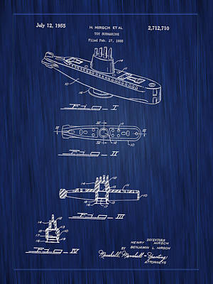 Photograph - 1955 Baking Soda Submarine Patent Art-blue by Barry Jones