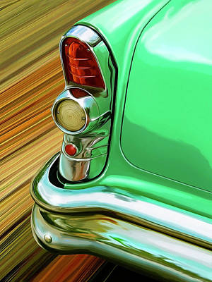 Vintage Auto Digital Art - 1955 Buick Taillight Detail by David Kyte