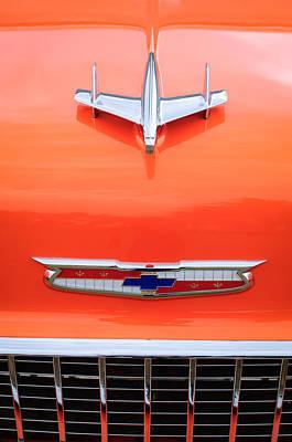 1955 Chevrolet Photograph - 1955 Chevrolet 210 Resto Mod Hood Ornament by Jill Reger