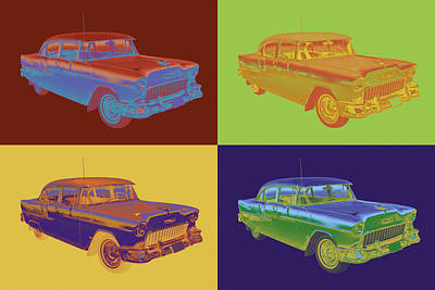 Photograph - 1955 Chevrolet Bel Air Pop Art by Keith Webber Jr