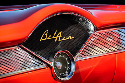 Belair Photograph - 1955 Chevrolet Belair Dashboard Emblem Clock by Jill Reger