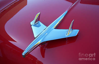 Photograph - 1955 Chevy Bel Air Hood Ornament Crop by Heather Kirk