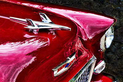 Photograph - 1955 Chevy Bel Air Hood Ornament by Peggy Collins