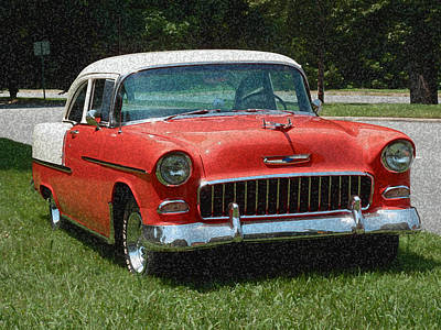 Photograph - 1955 Chevy Bel Air With Sponge Painting Effect by Frank Romeo
