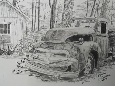 Chevrolet Truck Drawing - 1955 Chevy First Series Truck by Kendra DeBerry