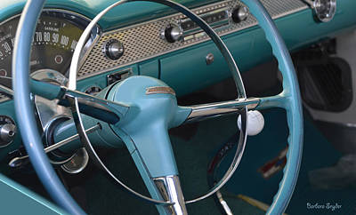 Comedian Drawings - 1955 Chevy Nomad Steering Wheel by Barbara Snyder