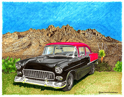 Street Rod Painting - 1955 Chevy Post Organ Mountain National Monument by Jack Pumphrey