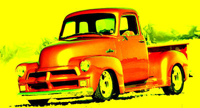 Low Rider Painting - 1955 Chevy Truck by Brian Reaves