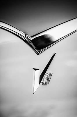 Lancer Photograph - 1955 Dodge Royal Lancer V8 Emblem -0639bw by Jill Reger