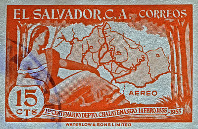 Photograph - 1955 El Salvador Stamp by Bill Owen