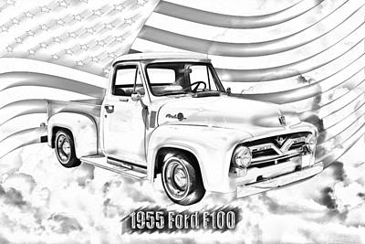 1955 F100 Ford Pickup Truck And Flag Art Print