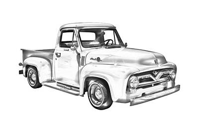 1955 F100 Ford Pickup Truck Illustration Art Print by Keith Webber Jr