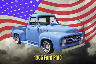Photograph - 1955 F100 Ford Pickup Truck With Us Flag by Keith Webber Jr