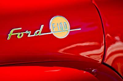 1955 Ford F-100 Pickup Truck Side Emblem -3515c Art Print by Jill Reger