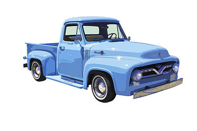 1955 Ford F100 Blue Pickup Truck Canvas Art Print