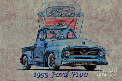 Ford Watercolor Photograph - 1955 Ford F100 Illustration 2 by Dave Koontz