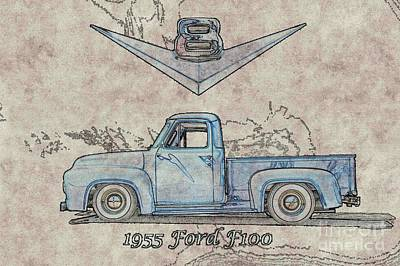 Ford Watercolor Photograph - 1955 Ford F100 Illustration by Dave Koontz