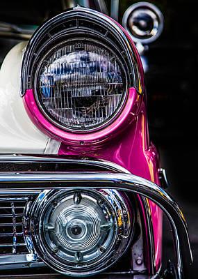 Photograph - 1955 Ford Headlight by Karen Saunders