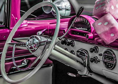 Photograph - 1955 Ford Steering Wheel And Dash by Karen Saunders