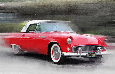 Thunderbirds Painting - 1955 Ford Thunderbird Watercolor by Naxart Studio