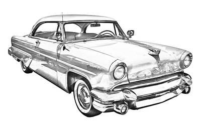 Lincoln Drawings Digital Art - 1955 Lincoln Capri Luxury Car Illustration by Keith Webber Jr